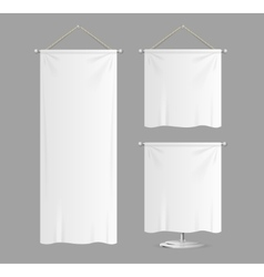 Textile banners with folds set vector