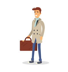 Man in coat with brown suitcase isolated on white vector