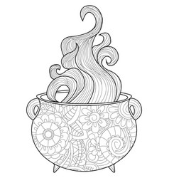 With steam witches cauldron coloring book vector