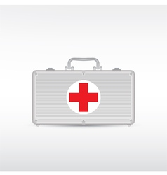 Red first aid kit vector