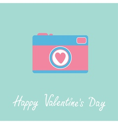 Photo camera with heart happy valentines day vector
