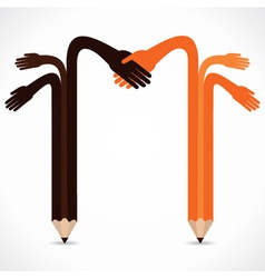 Pencil hands want to hand shake vector