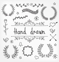 Hand drawn wreaths vector
