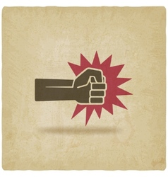 Fist punch symbol old background vector