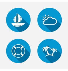 Travel icons sail boat with lifebuoy signs vector