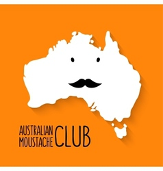 Fun moustache club cartoon australia map on vector