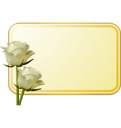 Ivory roses and message tag vector