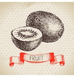Hand drawn sketch fruit kiwi eco food background vector