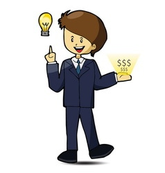 Businessman get idea and make money vector image