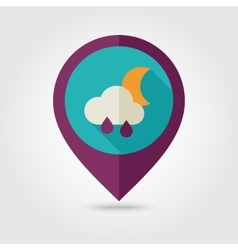 Rain cloud moon flat pin map icon weather vector