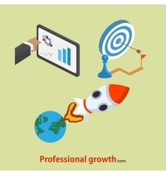 Flat professional growth icon startup concept vector