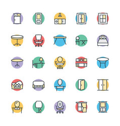 Furniture cool icons 3 vector