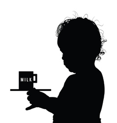 Child with milk silhouette vector