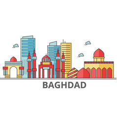 Baghdad city skyline buildings streets vector