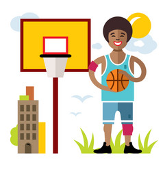 basketball flat style colorful cartoon vector image vector image