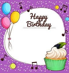 Birthday theme with cupcake vector image vector image