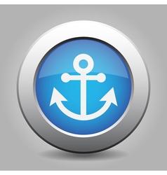Blue metallic button White anchor icon vector image