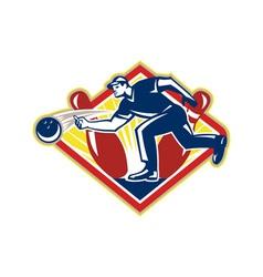 Bowler Bowling Ball Pins Side Retro vector image