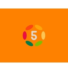Color number 5 logo icon design hub frame vector