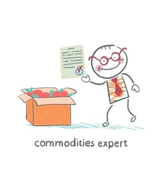 Commodities expert stands next to a box of apples vector