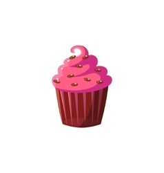 Cute cupcake with pink icing vector