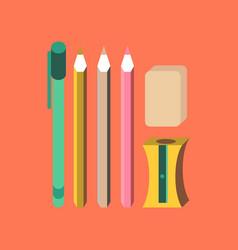 Flat icon on stylish background pencil eraser pen vector