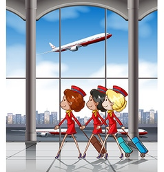 Flight attendants vector
