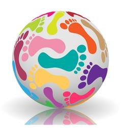 Footprint on the ball vector image