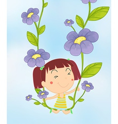 Girl and flowers vector image vector image