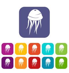 Jellyfish icons set flat vector