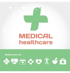 Medical and Healthcare flat round icon set vector image