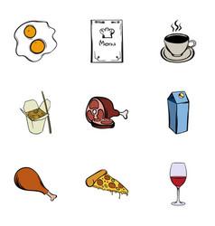 Menu icons set cartoon style vector