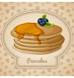 Pancakes with syrup poster vector