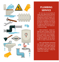 plumbing service advertisement banner with vector image vector image