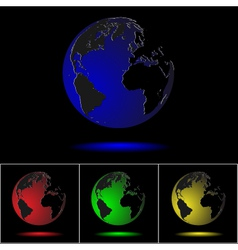 realistic colored globes on black vector image vector image