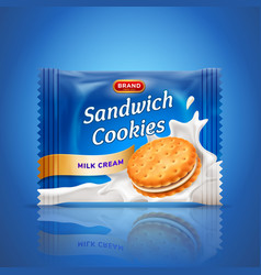 sandwich cookies or cracker package design easy vector image vector image
