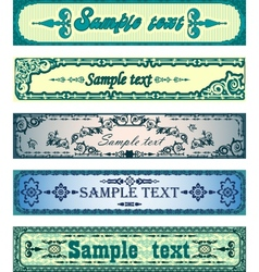 Set of antique blue banners vector image vector image