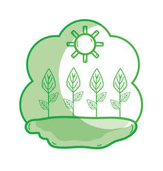 Silhouette plants with leaves in the sunny weather vector