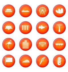 Singapore icons set vector