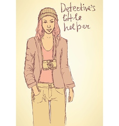 Sketch detectives helper in mafia board game vector