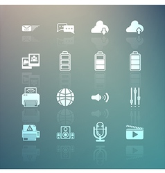 social media and Mobile Interface icons set on Ret vector image vector image
