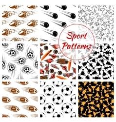 Sport balls items seamless patterns set vector