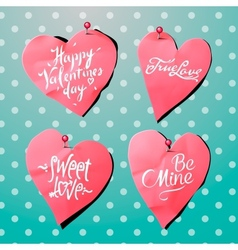 Valentines Day background with paper heart shaped vector image