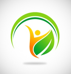 vegetarian people spa logo vector image vector image