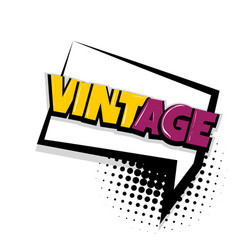 Vintage comic text white background vector