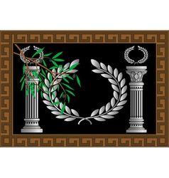 The Greek columns and wreath vector image