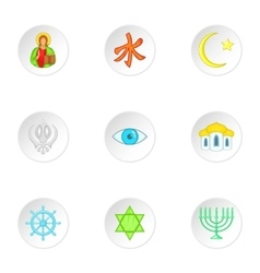 Beliefs icons set cartoon style vector