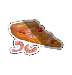 Pizza seafood shrimp slice vector