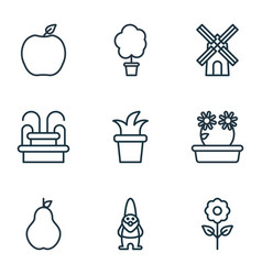 set of 9 garden icons includes decorative plant vector image