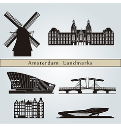 Amsterdam landmarks and monuments vector image